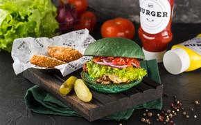 Picture Hamburger, cucumber, potatoes