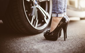 Wallpaper machine, asphalt, black, wheel, shoes, heels, disk, car