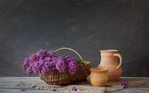 Picture flowers, bouquet, Basket, pitcher, lilac