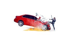 Wallpaper red, fragments, fire, speed, blow, white background, car, photoshoot, stick, sledgehammer, Complex, 2016, Nick Jonas, ...