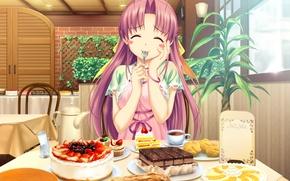 Picture table, kettle, pie, cafe, cake, plug, yummy, art, cakes, tropical kiss, koutaro, visual novel, ficus, …