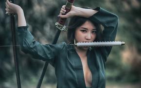 Picture look, face, katana, Asian, swords
