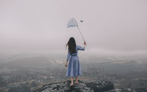 Wallpaper girl, fog, butterfly