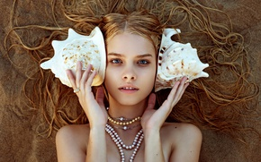 Wallpaper beads, blonde, decoration, shell, pearl, sand, girl, necklace