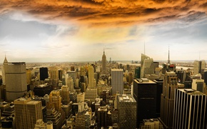 Picture USA, clouds, New York, panorama, home