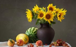 Picture sunflowers, watermelon, grapes, peach, melon