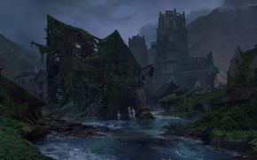 Picture mountains, river, ruins, Uncharted 4, Sunken