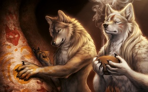 Picture smoke, cave, Wolves