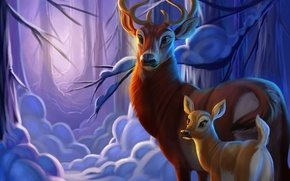 Picture winter, forest, snow, deer, fawn, by TehChan