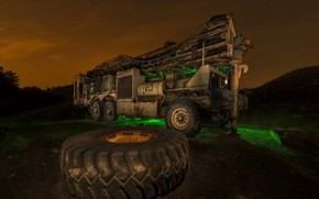 Wallpaper wheel, night, fire truck