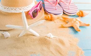 Picture sand, beach, summer, stay, star, hat, shell, summer, beach, sand, starfish, seashells