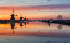Picture water, fog, the evening, morning, channel, haze, Netherlands, windmills
