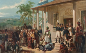 Picture Painting, Nicolaas Pieneman, The Submission of Prince Dipo Negoro General De Ko, -, Ck