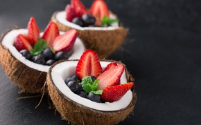 Picture berries, food, coconut, Breakfast, blueberries, strawberry, fruit