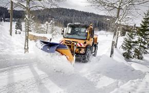 Picture road, snow, Mercedes-Benz, machinery, Unimog, U430