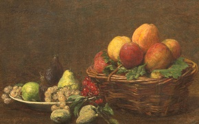 Picture picture, grapes, pear, fruit, basket, Henri Fantin-Latour, Still life with Fruit