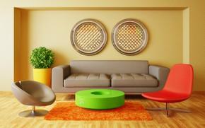 Wallpaper sofa, furniture, chairs, living room, room, interior, Modern