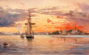 Picture the boatman, Jakob Haq, Sunset over the sea near Stockholm, Marine painter