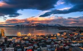 Wallpaper the city, the fjord, Iceland, mountains, light, Reykjavik