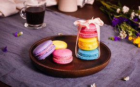 Picture coffee, bow, macaroon
