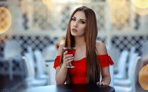 Wallpaper Drinkin' Campari, bokeh, makeup, beauty, at the table, brown hair, glass, portrait, dress, sitting, in ...