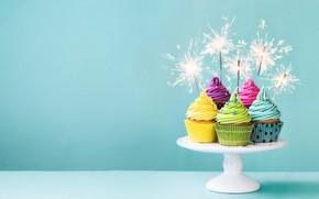 Wallpaper colorful, cream, Happy Birthday, cupcakes, decoration, Birthday, cupcakes, sparklers, holiday celebration