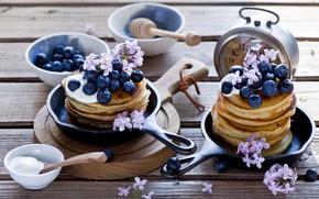 Picture berries, Breakfast, blueberries, pancakes, pancakes, sour cream, Anna Verdina