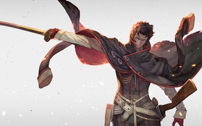 Picture sword, anime, art, guy, Pilgrimage Chop Toshizou, Berserker