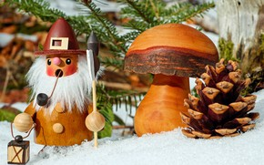 Picture snow, mushroom, bump, figure, Christmas motif