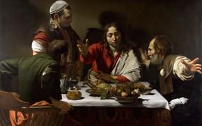 Picture picture, Supper at Emmaus, mythology, Michelangelo Merisi da Caravaggio