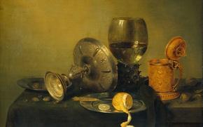 Picture lemon, picture, Still life, Cup, Willem Claesz Heda