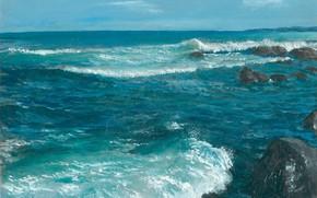 Picture wave, landscape, stones, Tide, Aibek Begalin, Two thousand two