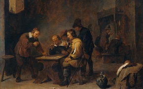 Wallpaper David Teniers The Younger, oil, Players, genre, picture, tree
