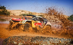 Picture Water, Auto, Sport, Machine, Speed, Race, Dirt, Puddle, Peugeot, Squirt, Red Bull, Rally, Dakar, Dakar, …