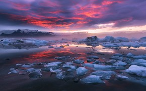 Picture the sky, clouds, nature, paint, ice, the evening, morning, Iceland, the fjord, the glacial lagoon