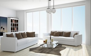 Picture furniture, pillow, window, sofas, living room, interr