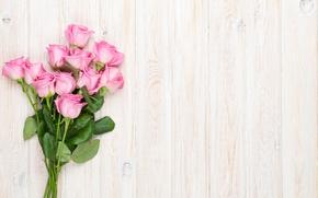 Wallpaper romantic, roses, roses, bouquet, wood, pink roses, pink