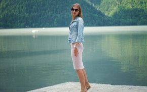 Picture summer, face, hair, glasses, cutie, pond, Masha