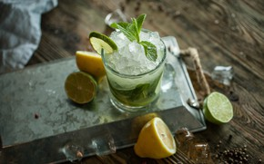 Picture glass, lemon, ice, lime, citrus, drink, mint, Mojito