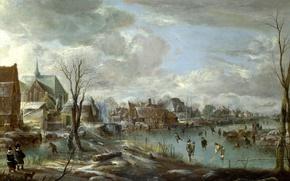 Picture landscape, home, picture, Frozen River near a Village, Art van der NEER, Aert van der ...