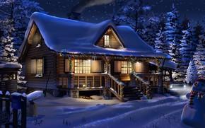 Wallpaper winter, structure, snow, Big Dipper, garland