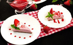 Picture cheesecake, strawberry, mint