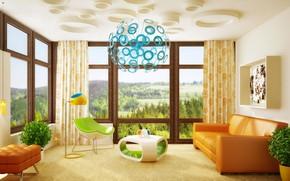 Wallpaper flowers, room, furniture, interior, living room, vases, room, interior, Modern