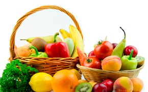 Picture lemon, orange, kiwi, bananas, white background, pepper, fruit, vegetables, peaches, tomatoes, pear, carrots, apricots, basket, ...