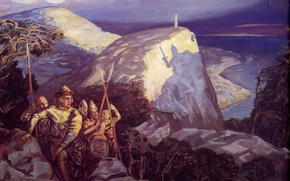 Picture river, mountain, warriors, Klimenko Andrew, Shadows of forgotten ancestors