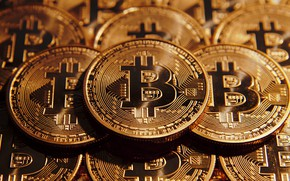 Wallpaper Crypto-currency, Coin, Bitcoin, Gold