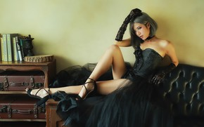 Picture makeup, legs, Oriental girl, Brode十