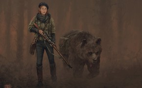 Picture Girl, bear, weapon, hat, face, animal, painting, blonde, digital art, fan art, rifle, boots, illustration, …