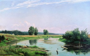 Picture nature, oil, picture, canvas, Ivan Shishkin, Landscape with a Lake