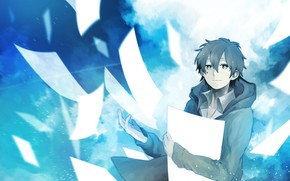 Picture anime, leaves, guy, Kagerou Project, Project a Sultry mist